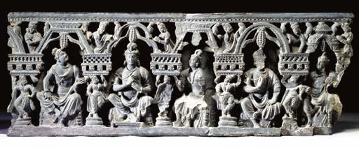 A Large Stone Frieze of Bodhisattvas
