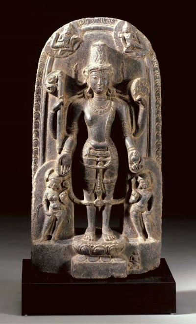 A Black Stone Figure of Vishnu