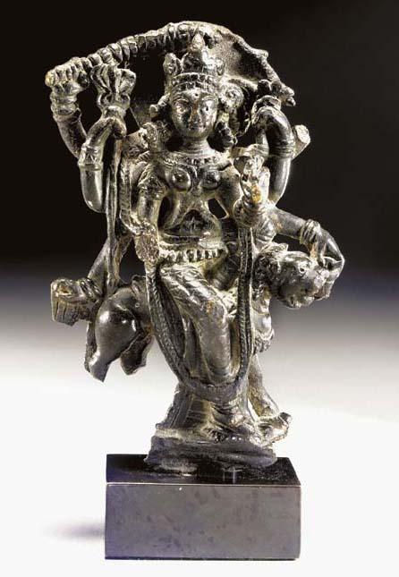 A Rare Bronze Figure of Durga