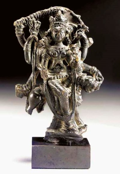 A Rare Bronze Figure of Durga