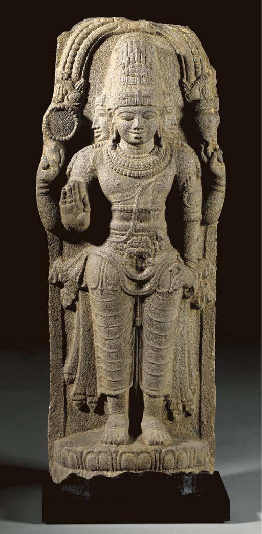 A Large Granite Figure of Brah