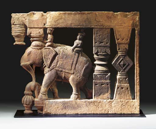 An Red Sandstone Elephant Brac