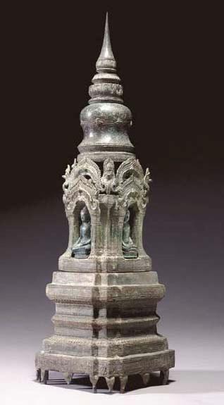 A Rare and Large Bronze Stupa