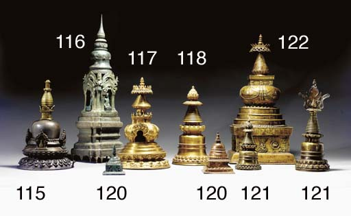 Two Bronze Stupas