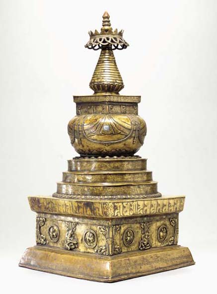 A Large Bronze Stupa with Silv