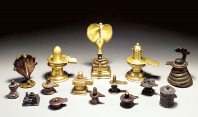 A Group of 15 Brass Linga