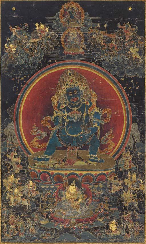 A Thangka of Black Jambhala
