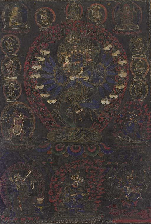 A Black Ground Thangka of Heva