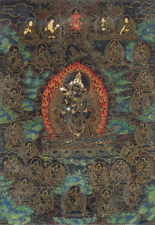 A Nyingma Black Ground Thangka