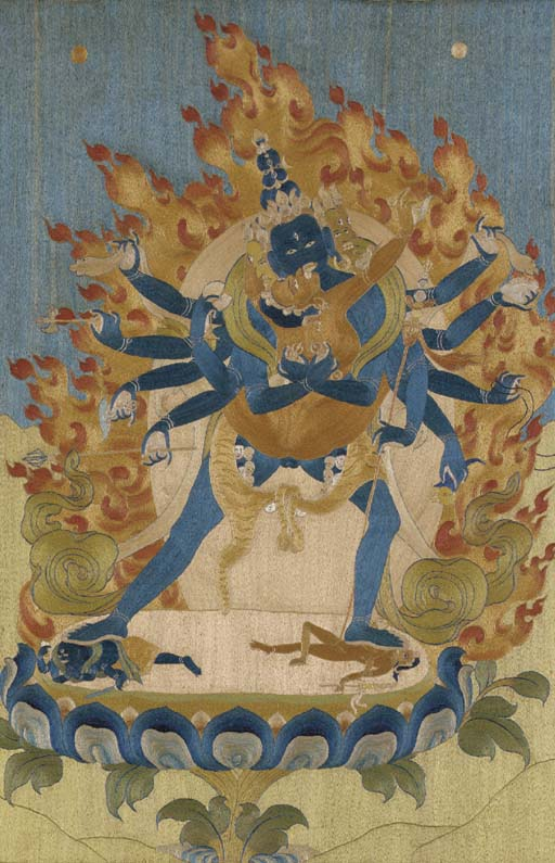 A Rare Silk Embroidered Thangka of Chakrasamvara and Vajravarahi
