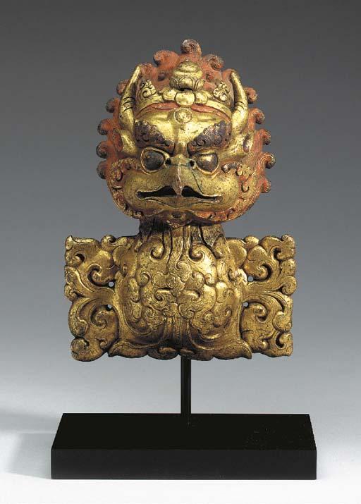 A Gilt Bronze Garuda Head Fini