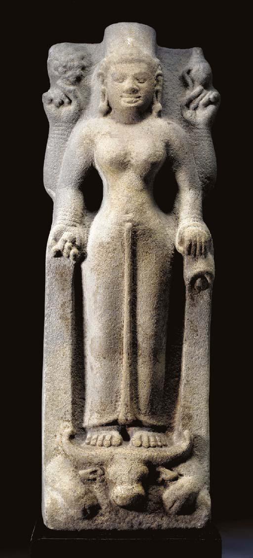 A Rare Stone Figure of Durga