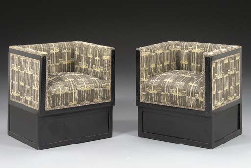 A PAIR OF BLACK LACQUERED CUBE