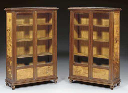 A PAIR OF FRUITWOOD AND MARQUE