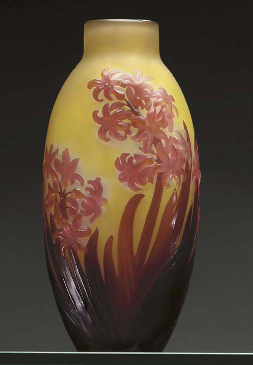 A 'HYACINTH' MOLD-BLOWN, OVERLAID AND ETCHED GLASS VASE