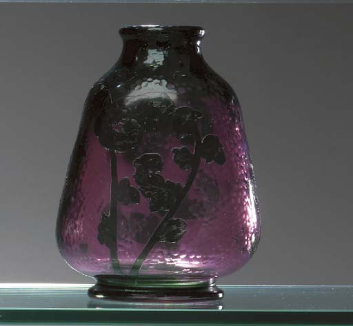 AN OVERLAID, ETCHED AND WHEEL-CARVED GLASS VASE