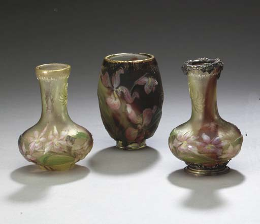 THREE WHEEL-CARVED AND INTERNALLY-DECORATED GLASS VASES