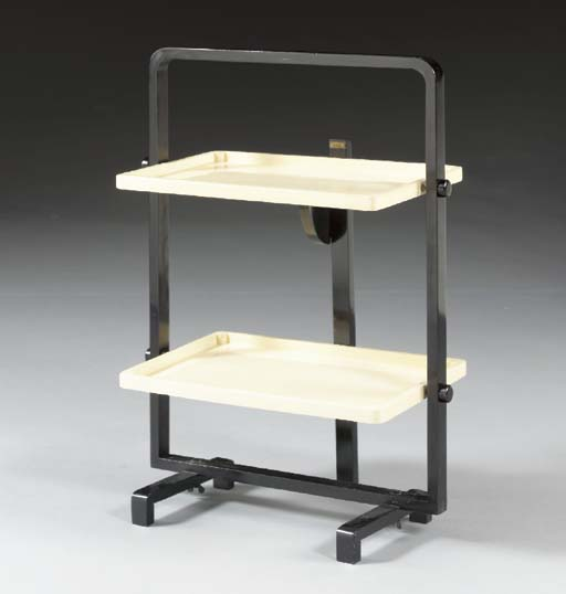 A TWO-TIER LACQUERED-WOOD SERV