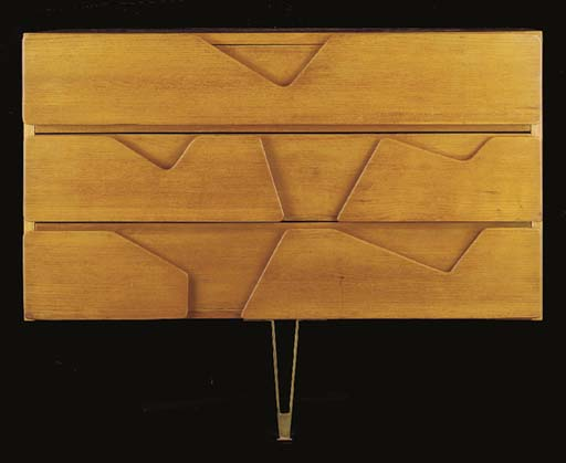 AN ASH CHEST OF DRAWERS