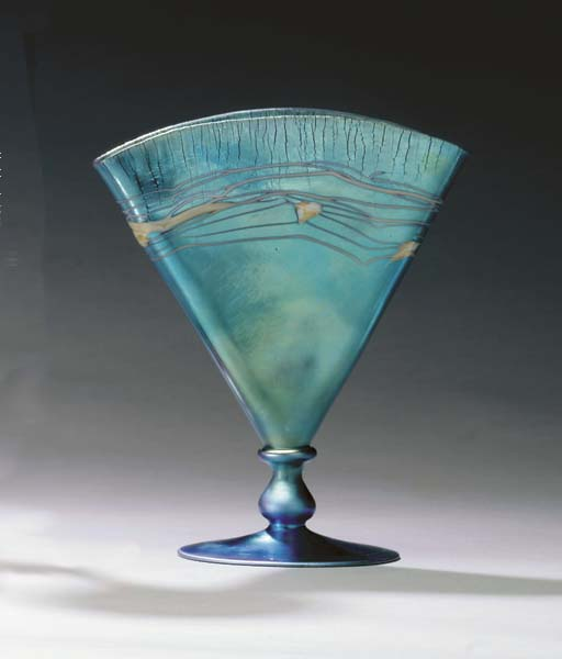 A BLUE AURENE GLASS VASE