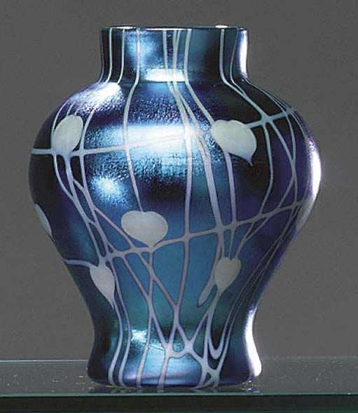 A DECORATED GLASS VASE