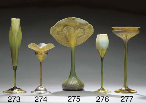 A FAVRILE GLASS FLORIFORM VASE