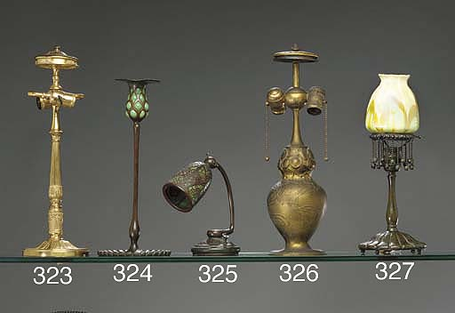 A GILT-BRONZE TABLE LAMP BASE