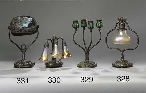 A FAVRILE GLASS AND BRONZE TAB