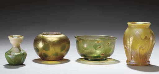 A GROUP OF FAVRILE GLASS VASES