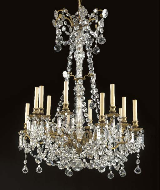 A LOUIS XV STYLE GILT-METAL AND CUT-GLASS 12-LIGHT CHANDELIER,