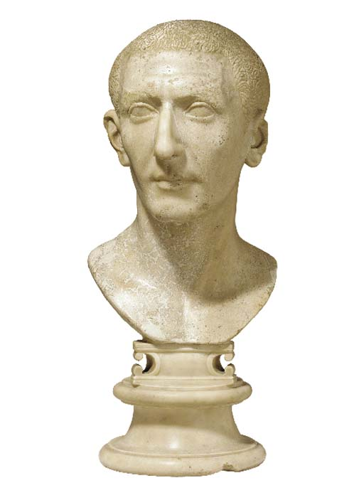 A ROMAN STYLE MARBLE BUST OF A PATRICIAN,