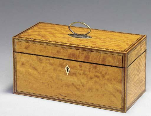 A GEORGE III SATINWOOD BOX,