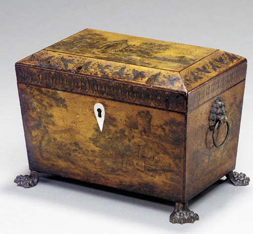 A LATE GEORGE III LACQUERED BRASS-MOUNTED PENWORK TEA CADDY,