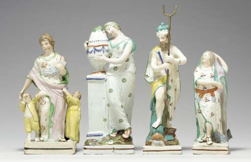 FOUR STAFFORDSHIRE PEARLWARE F