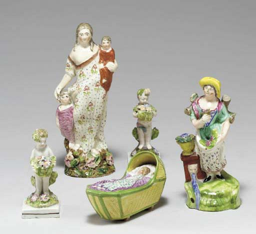 FIVE STAFFORDSHIRE PEARLWARE M
