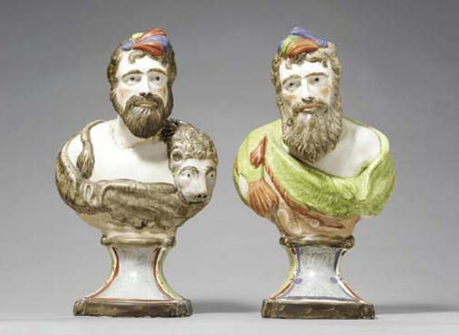 TWO STAFFORDSHIRE PEARLWARE BUSTS OF HERCULES AND NEPTUNE,