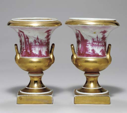 A PAIR OF PARIS PUCE-DECORATED