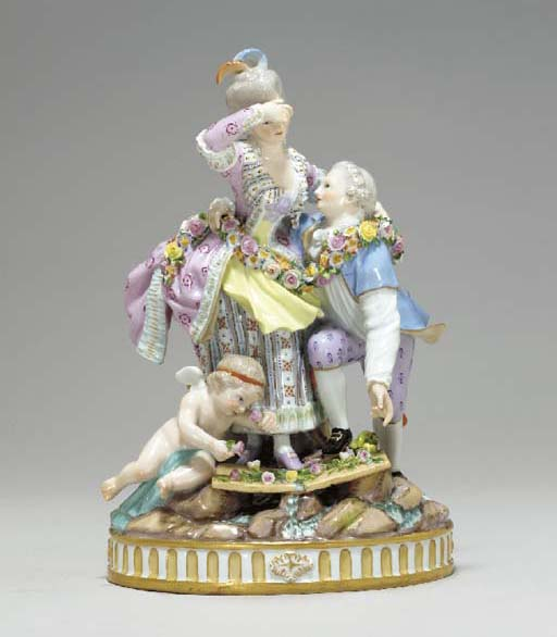 A MEISSEN FIGURE GROUP OF 'THE