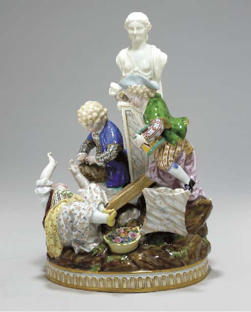 A MEISSEN FIGURE GROUP OF CHIL