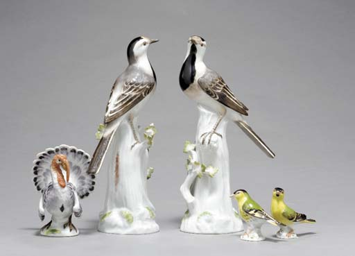 FIVE MEISSEN MODELS OF BIRDS,