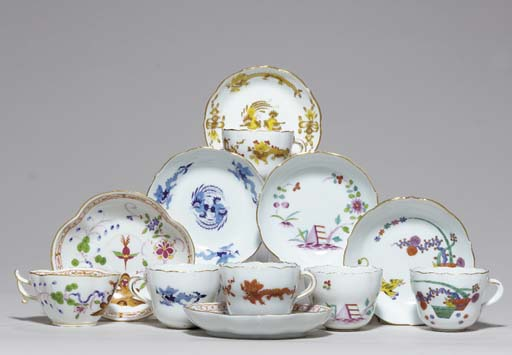TEN MEISSEN SMALL COFFEE-CUPS AND SAUCERS,