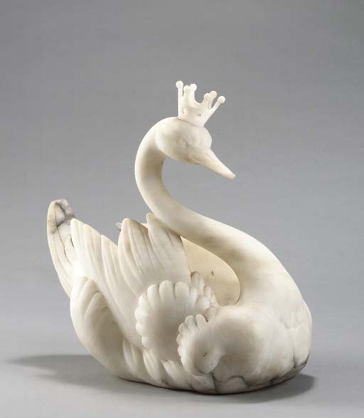 A SOLID ALABASTER SWAN-FORM CE