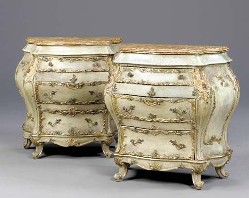 A PAIR OF ITALIAN ROCOCO STYLE GILT AND POLYCHROME PAINTED BOMBE COMMODES,