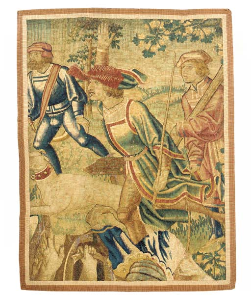 A FRANCO-FLEMISH HISTORICAL TAPESTRY FRAGMENT,