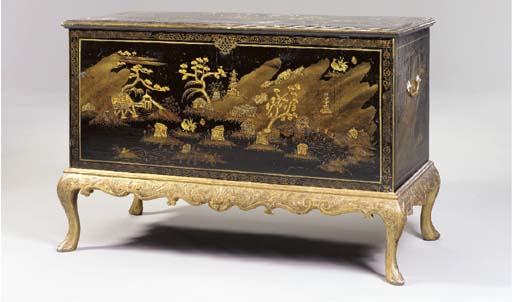 A GEORGE II GILT AND BLACK-JAP