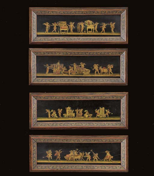 A SET OF FOUR ITALIAN STAINED-
