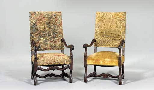 TWO FRENCH WALNUT OPEN ARMCHAIRS,