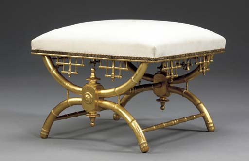 A VICTORIAN GILTWOOD TABOURET,