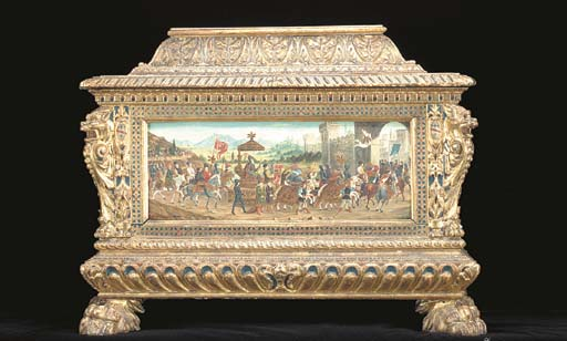 AN ITALIAN RENAISSANCE STYLE PARCEL-GILT AND POLYCHROME-DECORATED SMALL CASSONE,