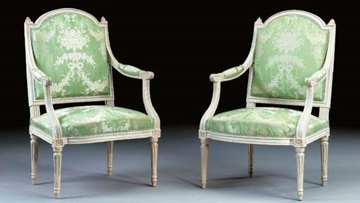 A PAIR OF LOUIS XVI GREY AND W